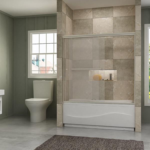 Sunny Shower 60 Quot Semi Frameless 2 Sliding Bathtub Shower