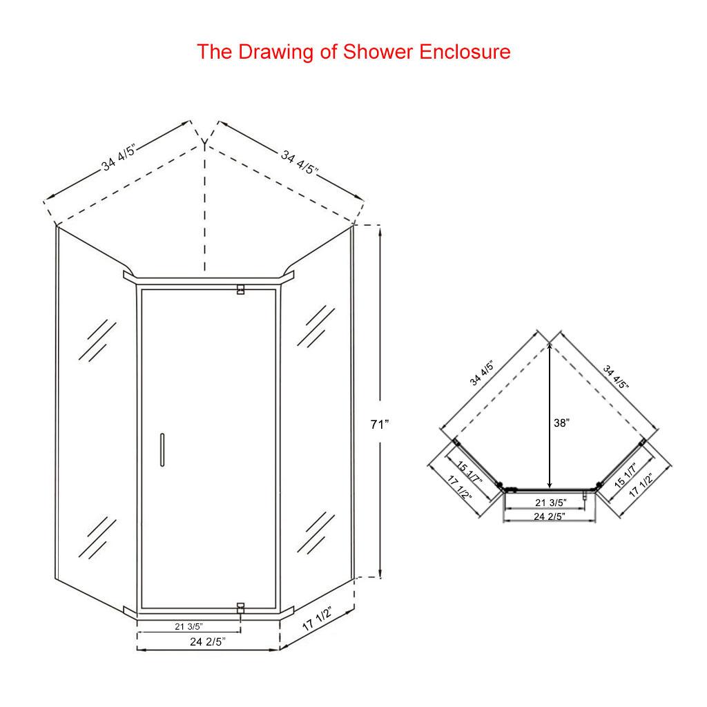 Neo Angle Frameless Shower Glass Door 37 2 5 Corner