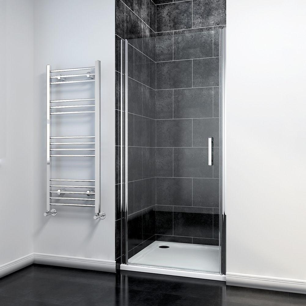 Details About Sunny Shower 35 1 4 W Semi Frameless Pivot Swing Gl Door Chrome Finish