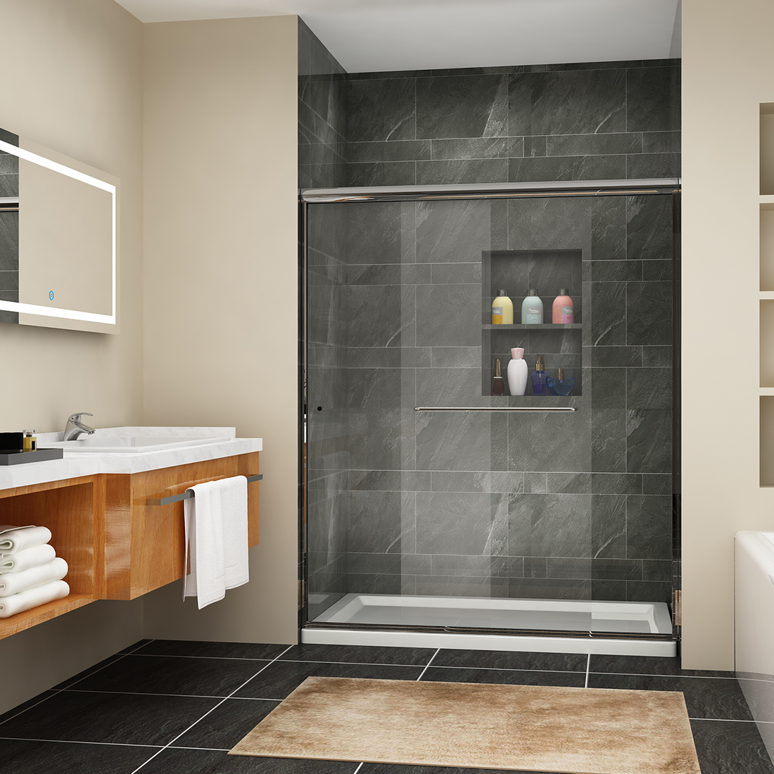 Sunny Shower Sliding Shower Doors 60 Quot X 72 Quot Semi Frameless