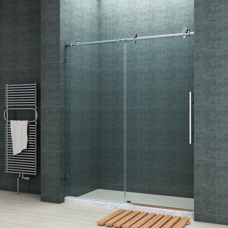 Sunny Shower Door Fully Frameless Sliding Doors 60 Chrome